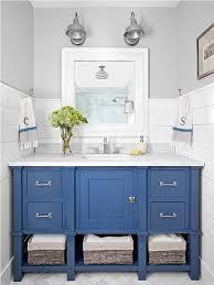 blue bathroom vanity cabinet. Stylish Wicker Baskets And Elegant Blue Vanity Cabinet For Small Classic Bathroom Plan Design N