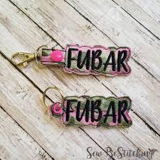 Sew Inappropriate Designs Fubar Keyfobs Snap Tab Eyelet Keyfob Embroidery Design Digital File