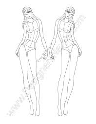 V76 Front View Leaning Fashion Illustration Template Designers Nexus