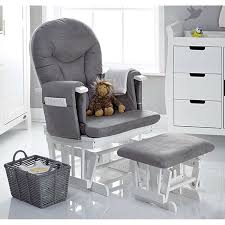 obaby reclining glider nursing chair stool white grey cushions