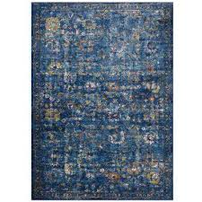 minu distressed fl lattice 4 ft x 6 ft area rug in dark blue