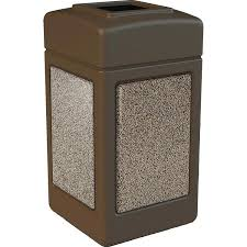 commercial outdoor trash cans. Exterior Trash Cans Durable Plastic Receptacle With Attractive Stone Panels Used Commercial Outdoor .
