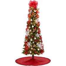 7' Pre-Lit Brinkley Pine Christmas Tree with Red and Silver Decoration Kit  - Walmart.com
