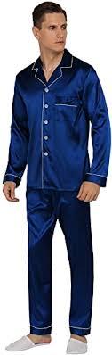 YIMANIE <b>Mens Silk</b> Satin <b>Pajamas</b> Set Classic Sleepwear ...