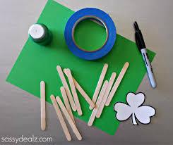 st pattys day home office decor. Popsicle St Patricks Crafts. Shamrock Stick Puzzle Craft Pattys Day Home Office Decor