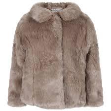 rachel riley girls light brown faux fur jacket