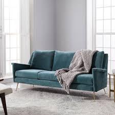 mid century sofa bed. Carlo Mid-Century Sofa (197 Cm) - Dusty Teal (Worn Velvet) Mid Century Bed