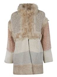 stella mccartney panel of ribbed knit fleece and faux fur coat in mix pastel colour