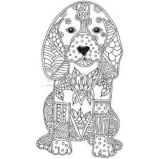 Hand Coloring Dog Adult Or Children Coloring Page Hand Drawn Animal