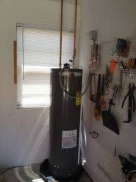 rheem water heater 40 gallon. we installed a rheem 40 gallon electric hot water heater in his garage.
