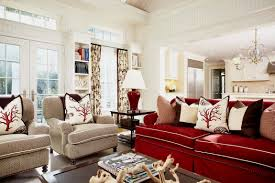 Living Room With Red Furniture Living Room With Red Leather Sofa And Round Mirror Ideas To