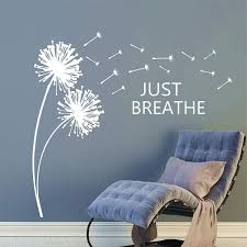 Just Breathe Dandelions Blowing In The Breeze Inspirational Wall Quotes 28 H By 30 W Dandelion Decals Dandelions Blowing In The Wind Wall Decals