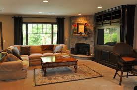 narrow family room designs with a corner fireplace