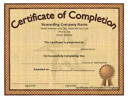 Certificate Of Training Completion Template Printable Certificates Of Completion Sampleprintable Com