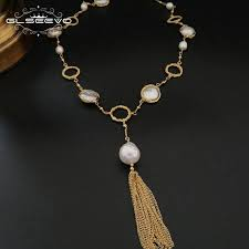 2019 glseevo natural fresh water baroque pearl pendant necklace women long tassel necklaces luxury fine jewelry collier female gn0043 from bojiban