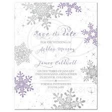 Winter Wedding Save The Date Purple Silver Winter Wedding Save The Date Invitation