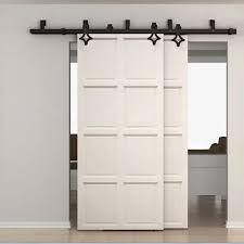sliding barn doors. WinSoon 5-16FT Bypass Sliding Barn Door Hardware Double Track Kit New Rhombus Doors A