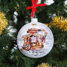 Handpainted Glass Christmas ornaments Tree balls 100mm handmade. New year  round ball decoration Xmas 2016