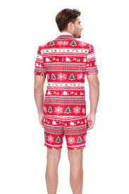 Red Ugly Christmas Sweater Short Suit For Men | The Soiree Of Sin