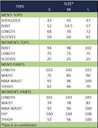 Sizing Chart Adaptive Clothing Indonesia