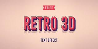retro 3d text effect psd