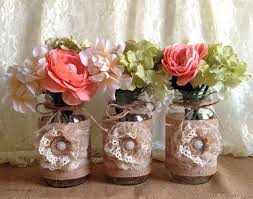 Decorating With Mason Jars And Burlap rustic burlap and lace covered mason jar vases wedding bridal 46