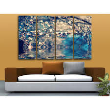 Living Room Artwork Oversized Flower Above Water Painting Living Room 4 Pieces Art Print
