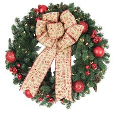 outdoor wreath with led lights. battery operated holiday burlap artificial wreath with 50 clear led outdoor led lights