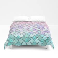 mermaid pastel pink purple aqua teal duvet cover