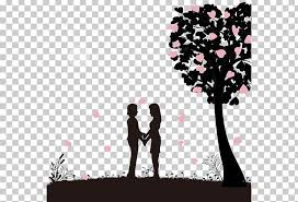 Silhouette Valentines Day Dating Png Clipart Branches Cartoon