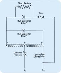 single pole and double pole contactors a psc motor during the running cycle using a single pole contact the motor sees both the 20 and 15 microfarad capacitor in parallel