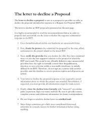 The Letter To Decline An Rfp Proposal In Word And Pdf Formats