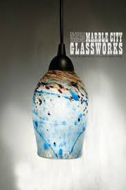 glass blown pendant lighting. Blue Speckled Hand Blown Glass Pendant Light - Unique Lighting Artisan Lights Example Listing