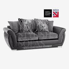 Stylish Sofas Sala Black Grey Chenille Fabric Sofa Collection With Stripe Cushions