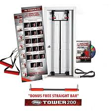 Body By Jake Tower 200 Door Gym Home Gym Exercise Workout System With Chart Guide Dvd And Bonus Straight Bar