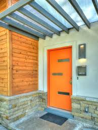 modern front door orange. Orange Front Door With Covered Porch Entry Contemporary And Mount Wall Lights . Modern O