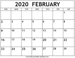 February 2020 Calendar Template Printable February 2020 Calendar Free Printable Calendar Com