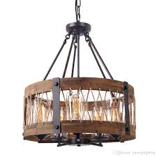 round wooden chandelier with clear glass shade edison wood island pendant lighting fixtures black color iron ceiling lamp hanging lighting modern hanging