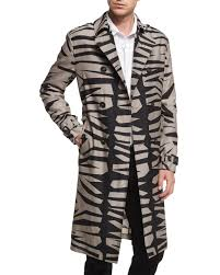 burberry zebra print silk blend long trench coat taupe gray black neiman marcus