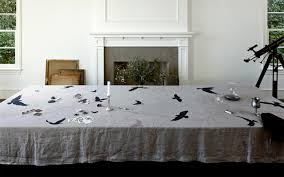 dining room table linens. crow linen tablecloth by huddleson traditional-dining-room dining room table linens m