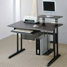 Elegant Sample Computer Desk For Small Room Rectangular Shape Shelving  Dawers Decorating Room Metal Legs ...