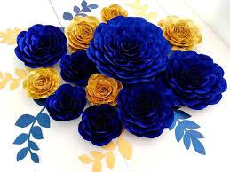 royal blue gold large paper flowers