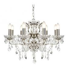 paris classic 8 light ceiling chandelier in satin silver with crystal glass 8738 8ss