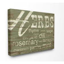 >stupell industries 30 in x 40 in herbs and words green kitchen   herbs and words green kitchen