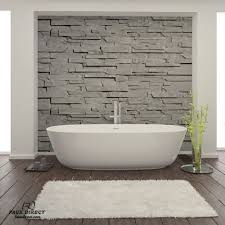FD stone accent wall behind tub