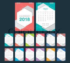 Calender Design Template 2018 Calendar Desk Calendar Modern Stock Vector Colourbox