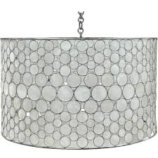 serena drum chandelier in stainless steel and capiz shell