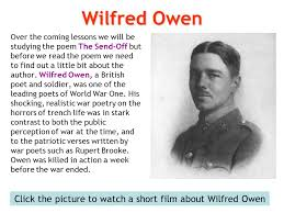 the send off war poetry ppt video online click the picture to watch a short film about wilfred owen