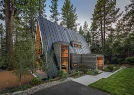 contemporary a frame cabin with a