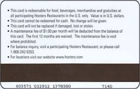 2010 hooters gift card